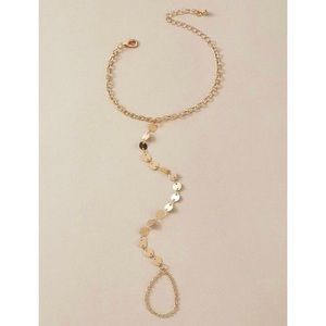 3/$33 Gold Coin Ring Bracelet Hand Chain